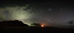 Playing with cloud as they pass (Steve Paxton WA) Tags: clouds milkyway fire beach cliffs nightsky stars panorama newzealand