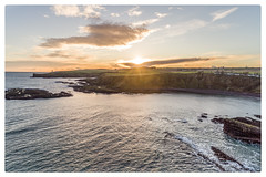 Sunset at Catterline Bay (Steve Samosa Photography) Tags: lighthouse sunset sun winter wintersun aberdeenshire catterline stonehaven aerial aerialview dronecamera drones droneshot seascape sea