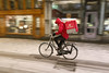 Spiegelstraat - Amsterdam (Netherlands) (Meteorry) Tags: europe nederland netherlands holland paysbas noordholland amsterdam amsterdampeople candid centrum centre center spiegelstraat motion blur moving fast foodora bicyclette bicycle vélo bike snow neige winter hiver blizzard guy male homme evening soir december 2017 meteorry