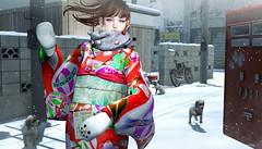 829 (Tomomi alpaca Homewood) Tags: tomoto cestlavie katat0nik barberyumyum taikou soy happynewyear 2018 nenga akeome dog winter snow japanese town post greeting kimono