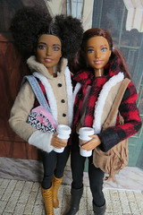 5. Best Friends (Foxy Belle) Tags: barbie doll fashionistas 2017 rebody made move coat winter cell coffee diorama plaid buffalo red tan leggings boots 66 80 butterfly curvy yellow petite