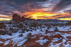 New Year Day Sunrise in Arches National Park (rebeccalatsonphotography) Tags: sunrise arches np nationalpark morning lasal mountains windows section ut utah canon redrock rebeccalatsonphotography january 1 newyear
