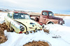 """""""Where's Your Boots"""" (DeVaughnSquire) Tags: alberta canada winter cold abandoned vehicles cars old farmstead prairies snow freezing white red yellow rustic metal automobiles history rural car truck vintage fargo henryj"""