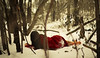 seven. (blackwing.photography) Tags: 52 365 selfportrait portrait winter snow cold freeze freezing frost barefoot coat red trees branches snowfall forest woods plants girl woman sleep slumber nap wake awake lying peace peaceful quiet serene serenity calm
