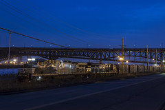 Horses at Night (sully7302) Tags: norfolk southern ns conrail csx central ave industrial track meadowlands pulaski skyway bridge overpass branch train trains night long exposure dusk ac44c6m 4002 63v railway new jersey rail railroad
