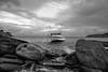 Untitled black & white shots - Greece (dimitris.giakoumis) Tags: boat sky sea rocks landscape beach greece mykonos dramatic blackwhite seaandsky