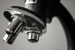 x10, x30, and x50....three different lenses... (jonbawden50) Tags: macro old vintage microscope lenses scientific instrument mono bw bnw blackandwhite monochrome fuji helios 44m4 closeup metal