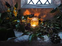 Potted light (badger_beard) Tags: duxford st saint john johns church churches conservation trust cct thecct redundant cambs cambridgeshire south charity holly ivy candle light jar windowsill ledge