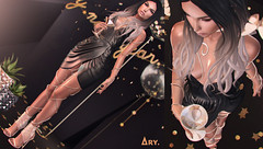 New Year's Eve Party (Ary McAuley) Tags: sl second life fashion blog outfit black gold glitter marttini party dress shiny silvester new years eve little drink eliavah nani gd arte michan imitation lootbox gacha cosmopolitan foxcity
