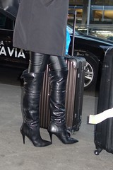 New Year City Trip - Rosina at the airport (Rosina's Heels) Tags: high heel stiletto overknee boots leather