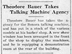 1921 - Theodore Bauer sells phonographs in barber shop - Enquirer - 10 Feb 1921