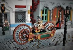"""""""the Gentleman"""" (adde51) Tags: adde51 lego moc steampunk wheel technique wheeltechnique neighbourhood gentleman vehicle minifigure house houses street bike"""