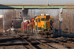 Ten Unit Transfer at Troost (Jake Branson) Tags: train railroad bnsf locomotive kansas city mo missouri troost emd ge gp38 gp50 gp30 kcs belle cp canadian pacific ac44cmw