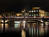 December stroll in Tampere, Finland # 2 (a_bygg) Tags: building water sky river night bridge lighttrails city reflections