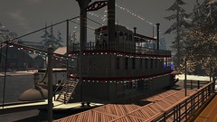 Proud Old Louisiana Steamboat (alexandriabrangwin) Tags: alexandriabrangwin secondlife 3d cgi computer graphics virtual world photography louisiana united states america southern style river steam boat ship cruiser docked beautiful restored old misty afternood party lights wood bygone era romantic