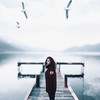 Atmosphere (Alexander Shark) Tags: girl portrait lake sea waves red white sky clouds light cold atmosphere sweater dark darkness winter birds mountains hills
