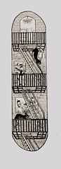 Skateboard Design Line Work (haleyrountree) Tags: skateboard catburglar illustration penandink idiom brick 60s beatnik cooldaddy