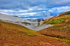 Republic of Iceland ~ Waiting for the Geyser to Perform (Onasill ~ Bill Badzo) Tags: iceland landmannalaugar route trail hiking snow mountain nature sky clouds onasill landmark historic hdr landscape july reykjavík ultramannalaugar outdoor trekking geyser republic spectators hotspring strokkur the churn steam