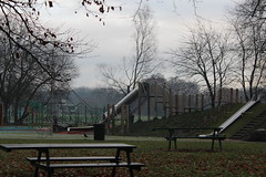 Empty park (daveandlyn1) Tags: benches swings slides grass leaves trees iii f3556 efs1855mm 1200d eos canon