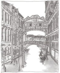 Italy, Venice, bridge of sighs (pirlouit72) Tags: italie italy venise venice sketch drawing dessin croquis urbansketch urbansketcher urbansketchers carnetdevoyage unesco