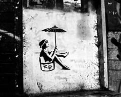 RIP flapper parasol girl monochrome (PDKImages) Tags: manchester mcr lovemanchester city urban misty fog manchesterart streetart urbanart graffiti