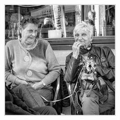 Little cerberus # 2 (sdc_foto) Tags: sdcfoto street streetphotography bw blackandwhite pentax pentaxart pentaxk30 people dog woman smile cafe view belgium leuven