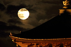 Full moon with the old temple (Teruhide Tomori) Tags: lunar moon supermoon kyoto japan fullmoon toji temple pagoda architecture construction 東寺 スーパームーン 満月 京都 日本 五重塔 night clouds 夜