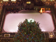 Christmas Tree at  Rockefeller Center (Steven Bornholtz) Tags: rockefeller center decorations christmas xmas tree lights rink new york city ny nyc midtown us usa united states america holiday skate skating crowds photography imagery picture getolympus olympus camera steve steven bornholtz pen ep5 urban djmidway dj midway