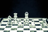 Interlude (jah32) Tags: chess chesspieces king queen palladin knight pawns peons chessboard glass bw blackandwhite blackwhite cmwdblackwhite cmwdblackandwhite monochromatic monochrome games light dark darkness