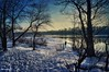 Glow of the Sunset in Winter. Happy New Year 2018! (t-maker) Tags: river riverfront backwater riverbank bank beach water reflection ripple ripples track footprint footstep snow snowdrift snowbank ice floe frost frozen snowman figure woman young girl female ukrainian plant nature tree trunk stem bole rind bark grove copse wood woods forest undergrowth brushwood thicket bush shrub twig branch winter shadow evening sunset goldenhour magichour gleam glow sheen luster glitter brilliance shine waterscape landscape scenery dnieper dnipro kyiv kiev ukraine europe hdr texture sony nex path pathway