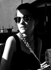 Nudging Noir: Hot Summer Day with a Cool Lady (Scott RS) Tags: kind fun sweet bw blackandwhite cellphoneshot beautiful gorgeous lady younglady woman pretty gentle tender loving braid picnic party reunion shades sunglasses hair eyes face tanktop attractive blackwhite