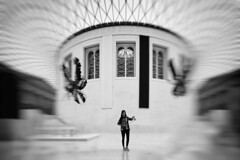 untitled . (helmet13) Tags: d800e raw bw people woman london britishmuseum selfiestick visitor architecture aoi world100f