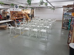 MakerBay Yau Tong, small theater audience (cesarharada.com) Tags: chairs yautong hot desk shared performance theater seating white ikea hk hong kong coworking
