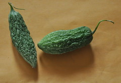 Karela (Veee Man) Tags: gimp nikond5000 loslunas meadowlake newmexico brown yellow beige green shadow vegetable food plant 2 two curve