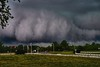 The roll cloud rotates on a horizontal axis. If the horizontal axis should begin to tilt vertically, a tornado could be the outcome. In this case, it was the outcome. (Fotofricassee) Tags: hail thunderstorm pittsboro northcarolina tornado rollcloud