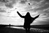 (Jens Steidtner) Tags: bw blackandwhite monochrome silhouette sky clouds beach coast kite play child fun travel oostkapelle walcheren zeeland netherlands outdoors fujifilm x100t
