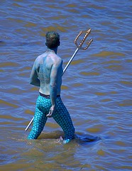 Neptune In Water (swong95765) Tags: neptune blue fork costume river man
