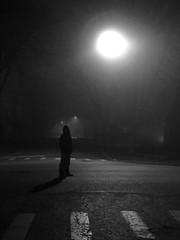 silhouette (Bo Dudas) Tags: silhouette sidewalk night nikon nightmare nightphotography nicecapture nightime nightfall nighttime dark black blackwhite blackandwhite bw street midnight contrast bokeh fog light perspective orb shadow figure surreal surrealism surrealist composition dream ominous frame