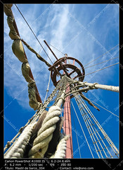 Spanish galleon (__Viledevil__) Tags: anchor apparel boat clouds foresail galleon harness historical history knot ladder marine maritime mast mizzenmasts nautical naval old pirate pulley replica rigging rope sail sailboat sailing ship shroud sky spanish tall tie transportation travel vessel wood