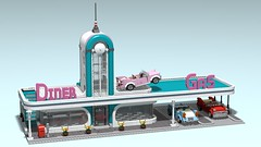 Downtown Diner XL - work in progress (2/3) (SpaceBrick) Tags: lego moc downtown diner cars 1950 creation modular