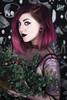 Cinder and Smoke (farreyfoto) Tags: selfportrait flowers gothic goth purple hair tattoos creepy beautiful haunting beauty studio neewer sony 35mm nugoth