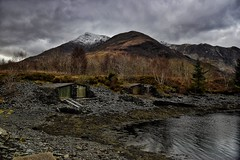 Ballachulish Slate Boat Huts. (andycaitens) Tags: scottishhighlands scotland scottishmountains ballachulish handbuilt slateboathuts slate harbour beach lochleven sealoch hdr hdrphotography landscape