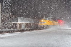 Keep them coming! (gsebenste) Tags: unionpacific up trains night depot snowstorm snow dekalb illinois