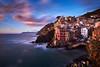 Riomaggiore at Sunset (_lucamure) Tags: sony a99 minolta 28 70 g samyang 14mm long exposure bw mare sea liguria italia europa europe italy