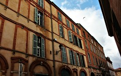 street (Silvia Aguado Montero) Tags: sky fly toulouse street building architecture window blue france urban house home