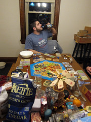 Game Night at Nate's (pr0digie) Tags: rochester christmas catan settlersofcatan game table nate drink snacks