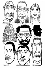 Liz and the guys (Don Moyer) Tags: face faces grid ink drawing moleskine notebook moyer donmoyer brushpen