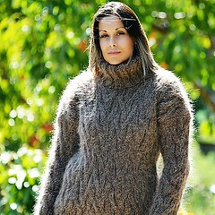 Women in heavy knitted tn (Mytwist) Tags: cable hand knit mohair sweater brown color fuzzy turtleneck knitwear style fashion outfit tn tneck wool fetish retro classic craft winter women design love girl wife