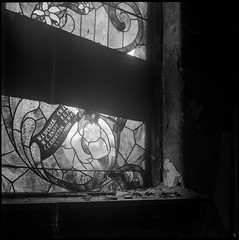 Nothing is Forever (argentography) Tags: yashica 124 stainedglass church kirche abandoned peoria illinois midwest hp5 yaku