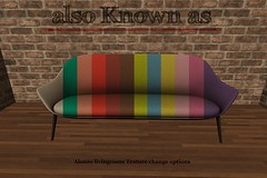 also Known as - Alonzo Livingroom Texture change options (~ also Known as ~ (Second Life)) Tags: sl sofa alsoknownas secondlife akahatasl animated cosmopolitan cosmopolitanevent contemporary retro livingroom 3d